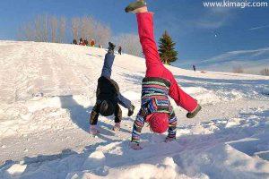 Children enjoying snow in Perth, Lanark County