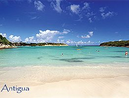 "Lover's Beach, The Verandah Antigua W.I. Collectible Postcard ANU4684,  size 153mm * 102mm ( 6"" x 4"")"