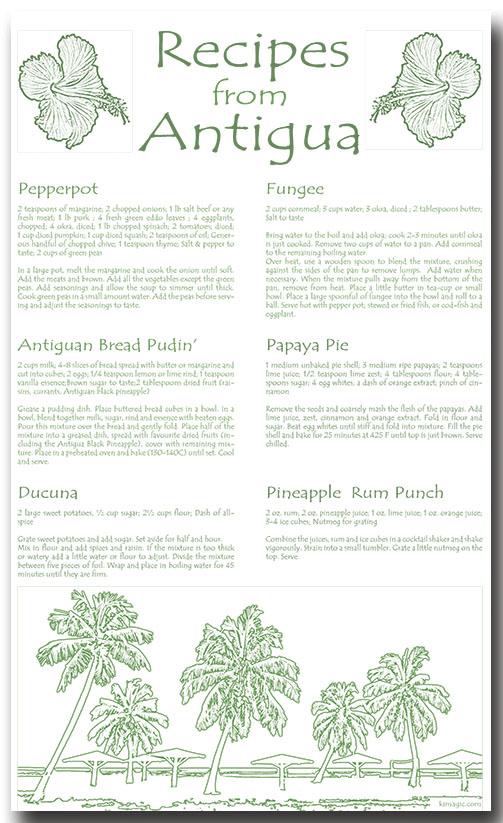 Antigua Recipes Linen 100% Towel collectable by KiMAGIC