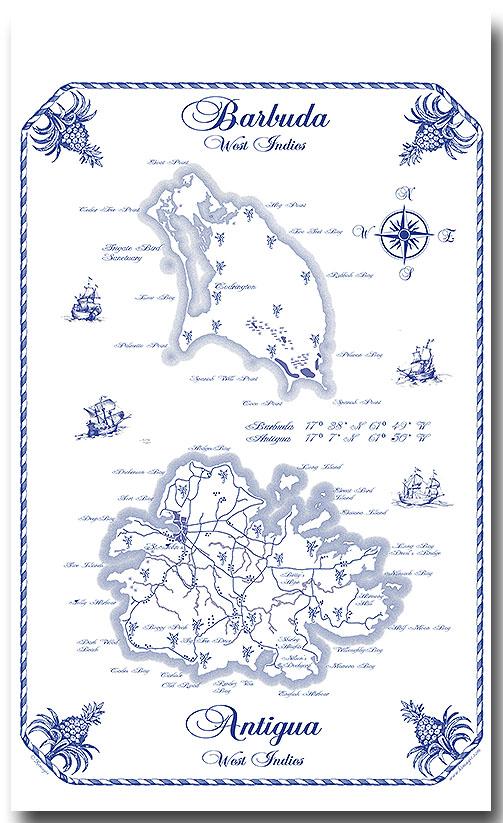 Antigua and Barbuda map Towel
