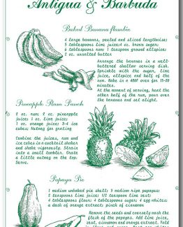 Recipes from Antigua and Barbuda Green Linen 100% Towel collectable by KiMAGIC
