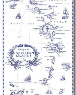 100% Linen Kitchen Tea Towel Caribbean Islands souvenir blue white nautical map