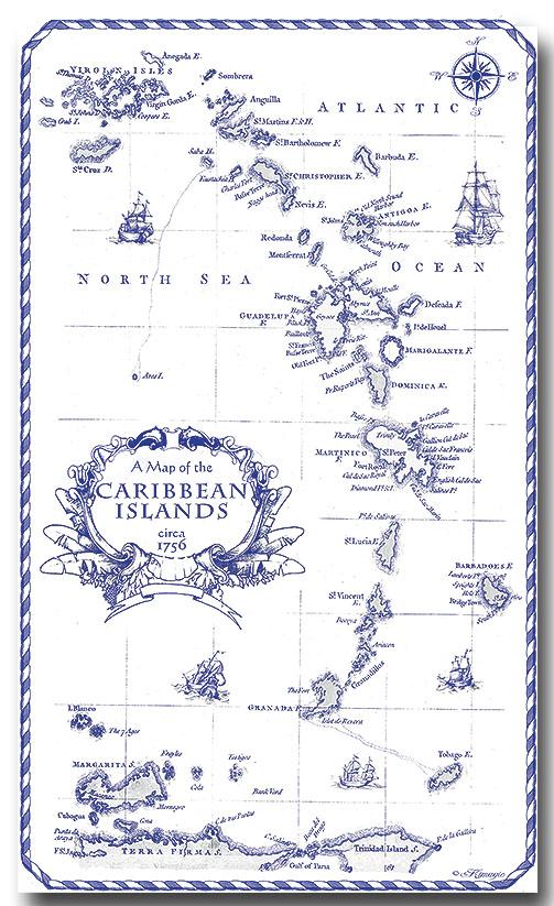 100% Linen Kitchen Tea Towel Caribbean Islands souvenir blue white nautical map