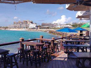 Sunset Beach Bar in Sint Maarten after hurricane Irma in November
