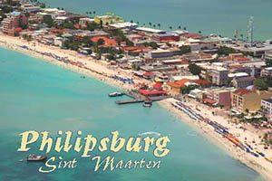 Great bay Beach in Philipsburg, Sint Maarten fridge magnet 005