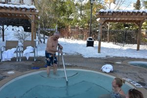 Going into outdoor hot tub in February morning, Trillium Blue Mountain Resort