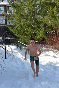 Running on the snow at the Trillium Blue Mountain Resort