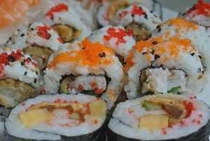 Rolls of sushi ready to eat