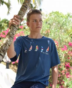 Saint Lucia Navy t-shirt with Colorful Sailboats Happy Barracuda 2019 edition