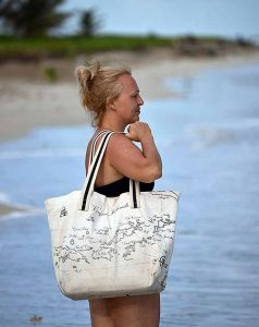 Islands Canvas Beach Bag, Happy Barracuda