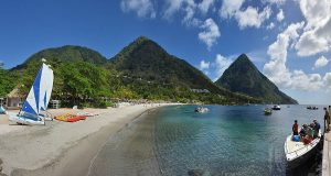 Sugar Beach in Soufriere Panoramic View Beautiful Saint Lucia