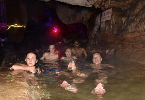 Hot Springs bathing in Golden Water Cave, Yangshuo, China