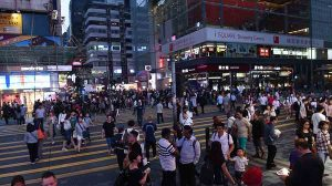 Busy Nathan Road in Tsim Sha Tsui HK