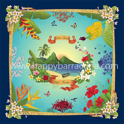 """Silk Scarf St. Lucia 35"""" x 35"""" 90cmx90cm 100% Mulberry, blue, navy leaves, flovers, banana, helocnia, bird of paradise, butterfly, hibiscus, gift, souvenir"""