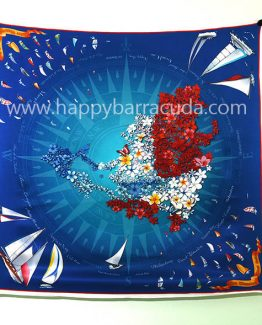 "Silk Scarf Sint Maarten 35"" x 35"" 100% silk, navy , red white, sailboats, map, nautical, souvenir, gift"