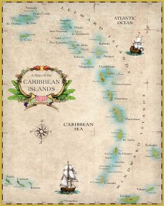 """Map of Caribbean Islands 16""""x 20"""" artistic collectible"""