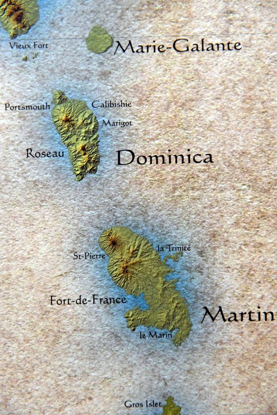 Details on Caribbean Islands Map featuring islands of Dominica and Martinique