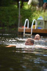 Swimming in Clyde River, Dolly's Cottage in Lanark County, Ontario, Canada