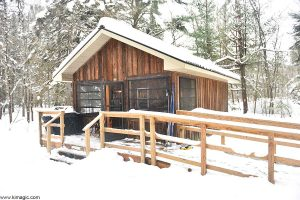 Cabin 202 in winter at Arrowhead Provincial Park Ontario