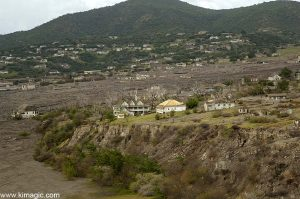 8 January 2006 Aerial view of Government Buildings in Plymouth town in Montserrat after the Volcano Destruction