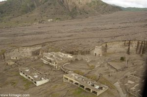 8 January 2006 Aerial view of Medical School in Plymouth town in Montserrat after the Volcano Destruction