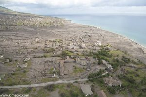 8 January 2006 Aerial view of Montserrat Plymouth after the Volcano Destruction