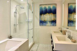 Bathroom in Room 313 at Walper Hotel in Kitchener, Ontario