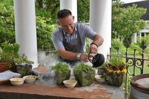 Chef Jason Bangerter preparing an exclusive tasting menu